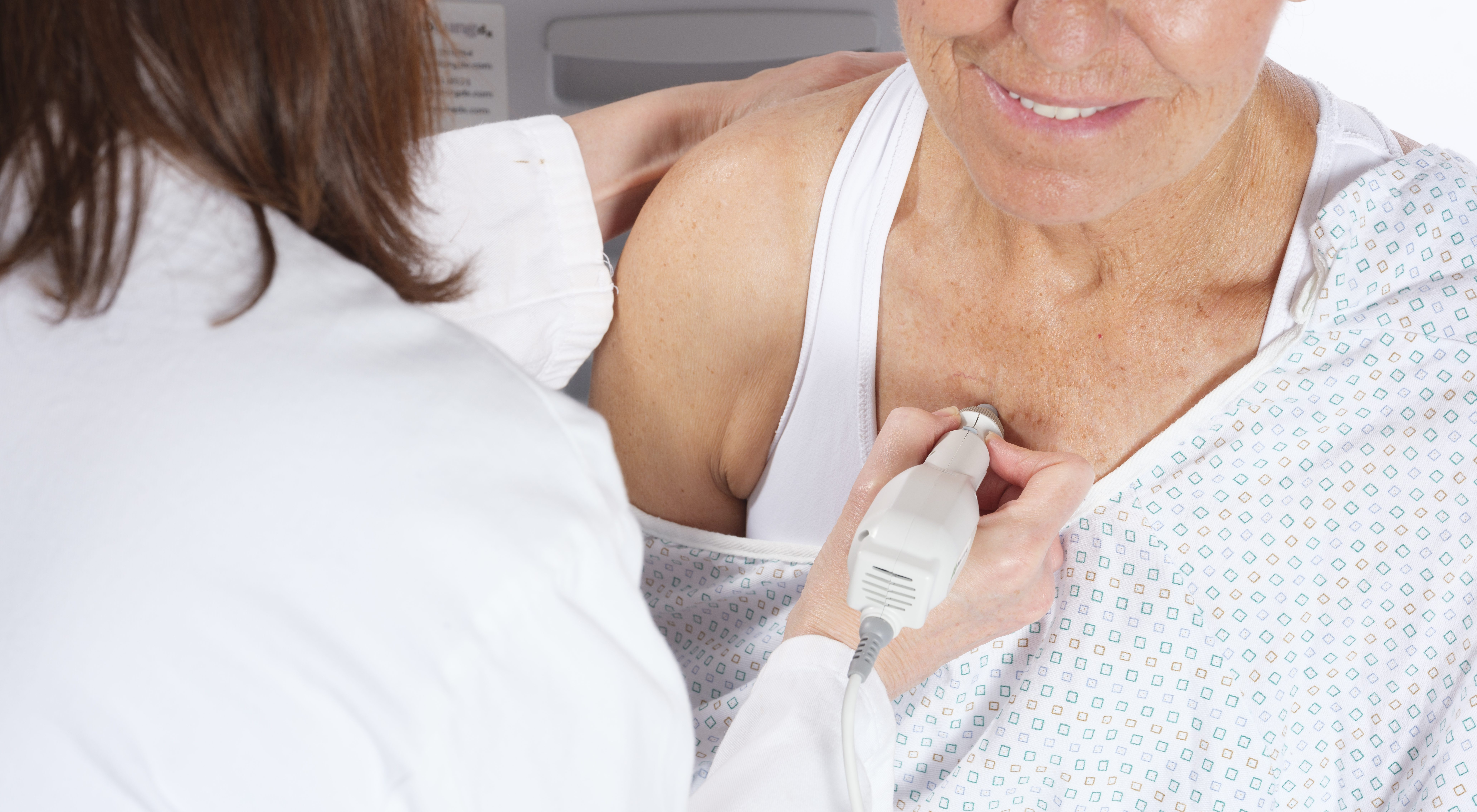 ProLung Test, a predictive analytic technology for rapid risk stratification of lung cancer, being used by a technician to perform test on a patient.